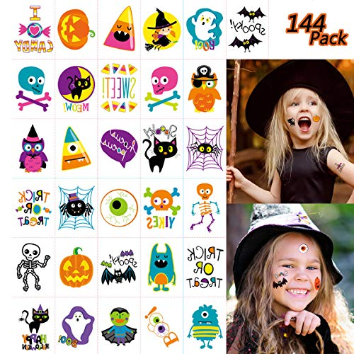144 PCS Halloween Temporary Tattoo, Waterproof Pumpkin Tattoos Stickers for Kids Children Party Favors, 72 Patterns ()