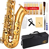 (US) Glory Gold Laquer B Flat Tenor Saxophone with Case,10pc Reeds,Mouth Piece,Screw Driver,Nipper. A pair of gloves, Soft Cleaning Cloth.