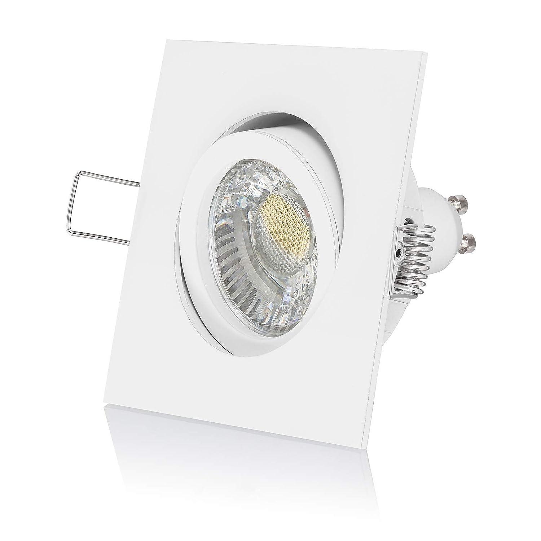 3 x LED Einbauleuchte Set dimmbar & schwenkbar inkl. Einbaurahmen 230V 6W GU10 4000k neutral-weiß mit Ra 90