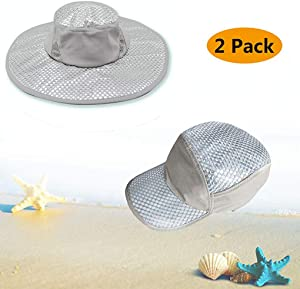 Wipkal 2 Pcs New Cooling Hat Ice Hat Wide Brim Cap, Summer Sun Hat Sunscreen Cooling Air Conditioning Cap Ice Cap Towel UV Protection for Women Men