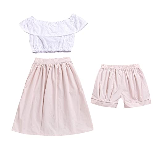 d84c493ed89e VIWORLD Toddler Baby Girl Clothes for Gift Flower Embroidery Top+Boho  Skirt+Pink Short