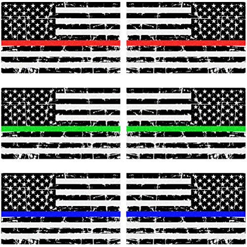 Creatrill Reflective Distressed Thin Blue Red Green Line Decal Matte Black – 3 Pairs 3x5 in. American USA Flag Decal Sticker for Car, Truck, Hard Hat, Support Police Fire Officer Military Troops -
