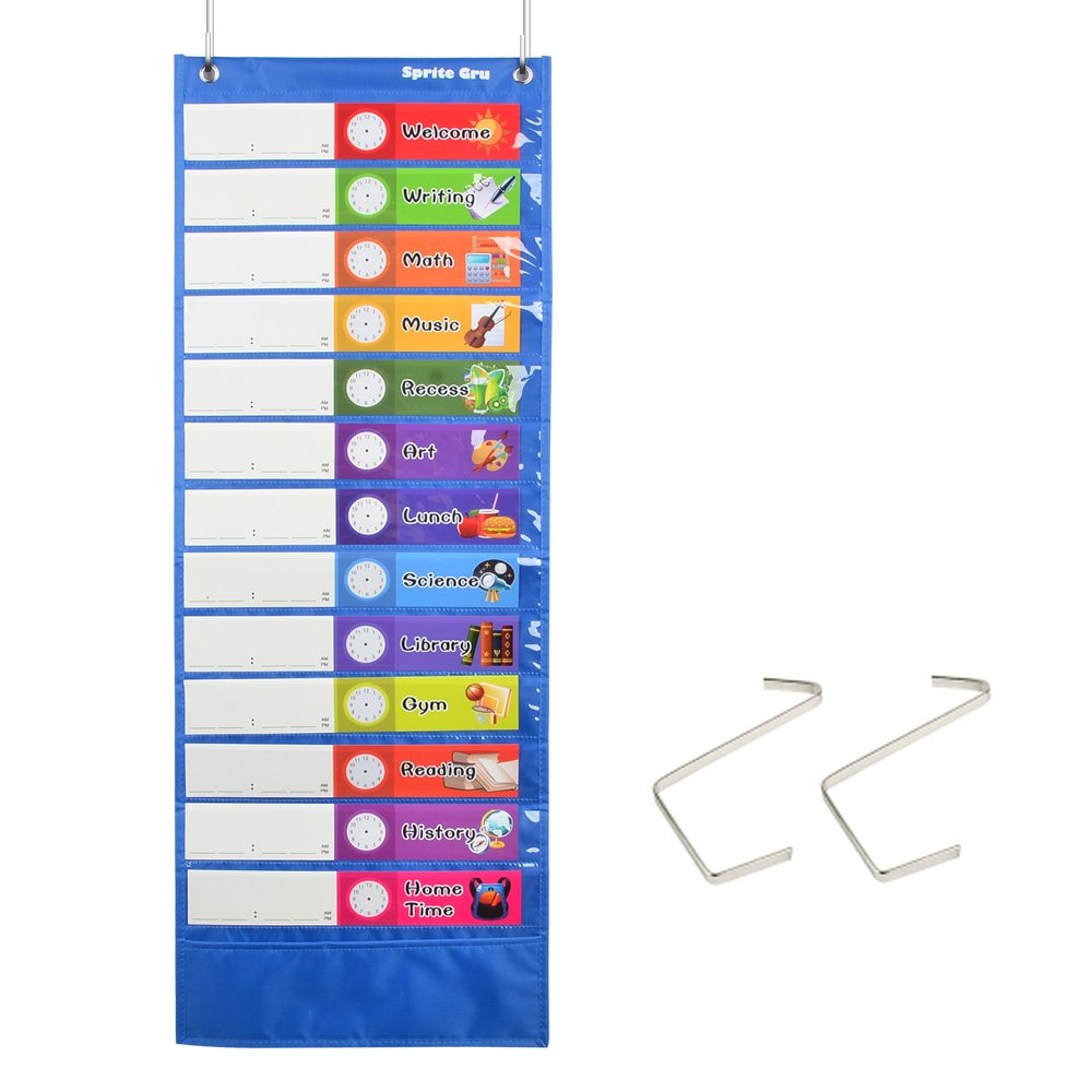 Daily Schedule Pocket Chart, Class Schedule with 26 Cards, 13+1 Pockets. 13 Colored + 13 Blank Double-Sided Reusable Cards, Easy Over-Door Mountings Included. (13'' x 36'') by SpriteGru
