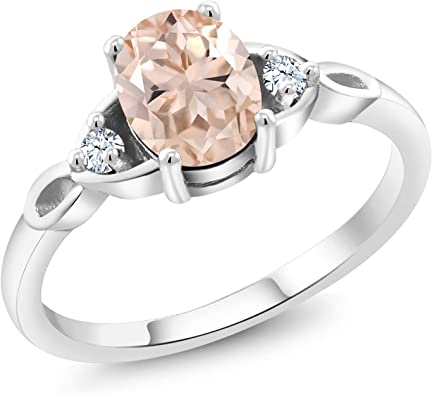 Gem Stone King 0.82 Ct Round Peach Morganite White Diamond 18K Rose Gold Plated Silver Ring
