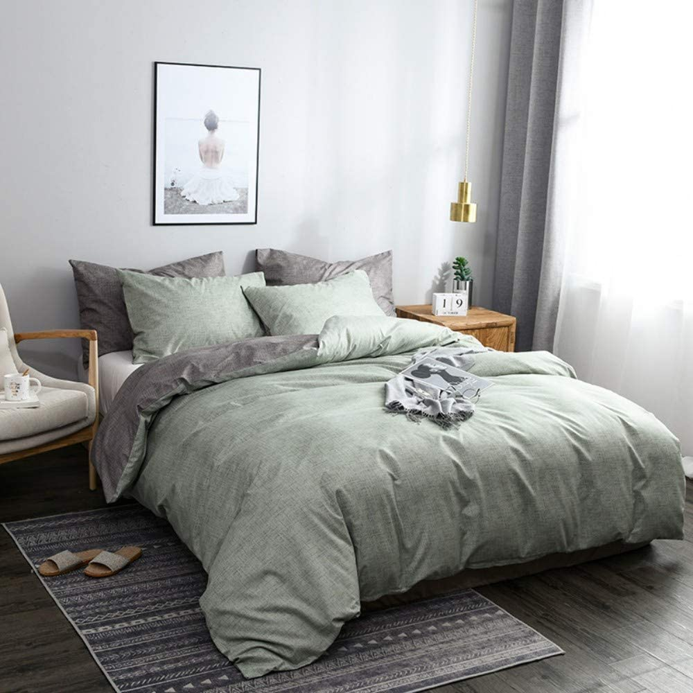 3Pcs Green Gray Duvet Cover Queen Size,Reversible Farmhouse Bedding Set Chambray Modern Solid Colored Comforter Cover Microfiber Quilt Cover for Men Women Kids Minimalist Style Decor, Zipper Closure
