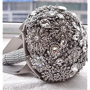 Prettybuy Handmade Luxury Vintage Diamond Rhinestone Brooch Bridal Hold Flowers Wedding Bouquet Roses Bouquet All Rhinestones Bouquet, Bouquet for Photo Shooting, Valentine's Day, Proposal, Birthday and Special Day Gift 115