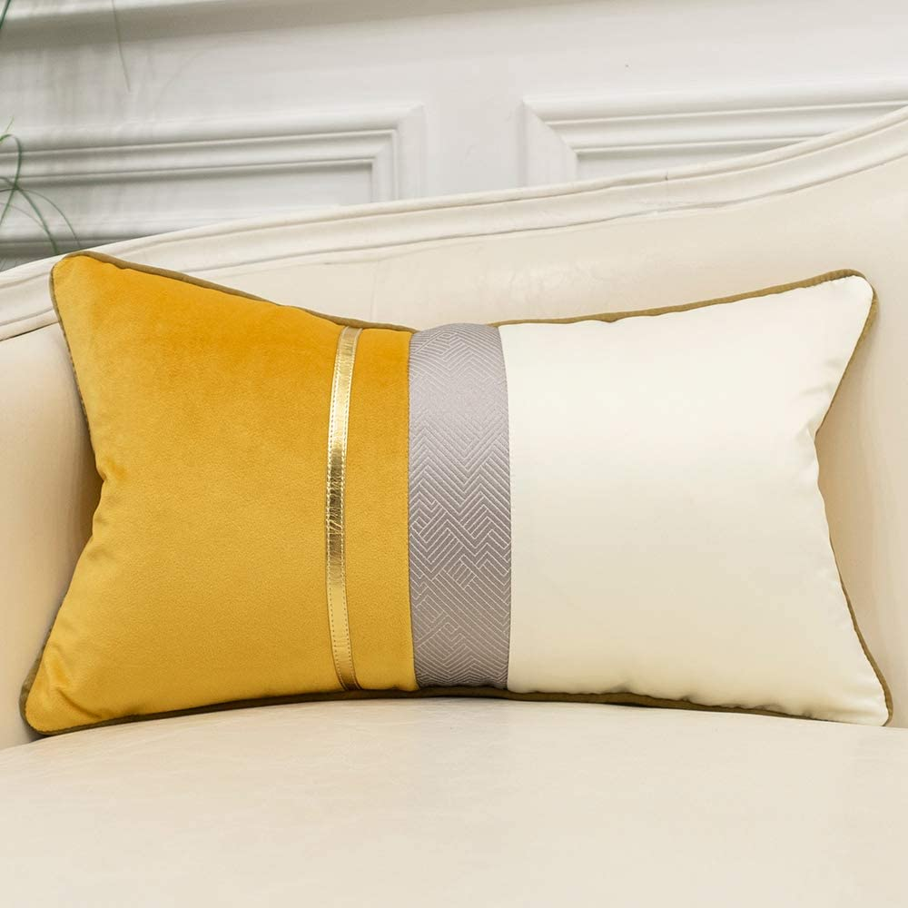 Avigers 12 x 20 Inches Yellow White Gold Leather Striped Patchwork Velvet Cushion Case Luxury Modern Throw Pillow Cover Decorative Pillow for Couch Living Room Bedroom Car