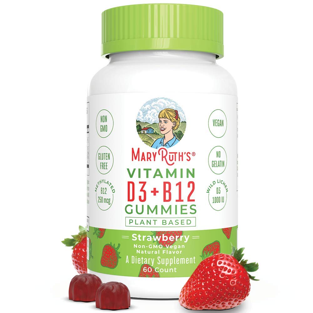Vegan Vitamin D3+B12 Gummy (Plant-Based Gummies) by MaryRuth's - Made w/Organic Ingredients Non-GMO Vegan Paleo Gluten Free for Men, Women & Kids 1000 IU Vitamin D3 & 250 mcg Vitamin B12 60 Count by MaryRuth Organics