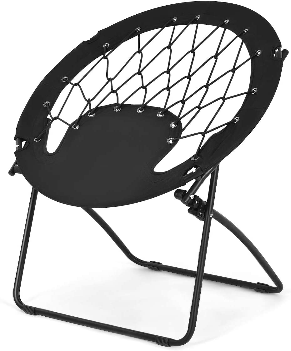 Goplus Bungee Chair Outdoor Camping Gaming Hiking Garden Patio Portable Steel Folding Bunjo Dish Chairs Classic Black