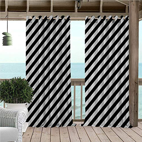 Linhomedecor Patio Waterproof Curtain Striped Diagonal Stripes Monochrome Pattern Abstract Geometric Elements Retro Inspirations Black White Porch Grommet Privacy Curtains 96 by 72 inch