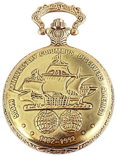 Elegante Taschenuhr Weiß Gold Columbus Schiff Metall Analog Quarz Herrenuhr