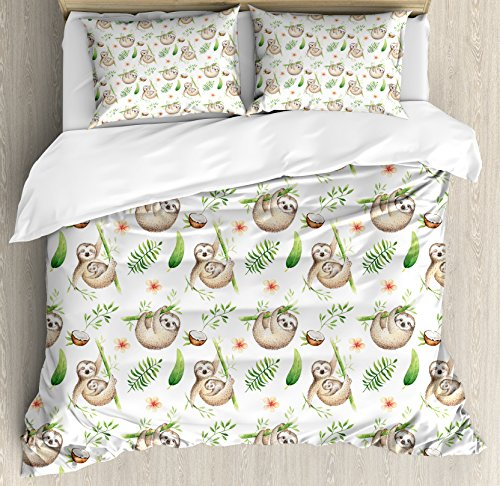 Ambesonne Sloth Duvet Cover Set Queen Size, baby Sloth and Mother tender Colored Flowers Coconut Tree Leaves Happy Family, Decorative 3 Piece Bedding Set by using 2 Pillow Shams, gentle Brown Green
