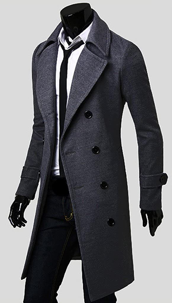 WSLCN Mens Winter Trench Coat Long Jacket Double Breasted Overcoat ...