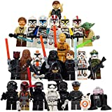 The Whole Star Wars Crew: 24 Star Wars Minifigures toys or Great Cake Toppers with Accessories Yoda Obi-Wan BB8 Stormtrooper Chewbacca Darth Vader Skywalker Tie Fighter and more