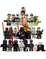 Xmas Hero The Whole Star Wars Crew: 24 Star Wars Minifigures toys or Great Cake Toppers with Accessories Yoda Obi-Wan BB8 Stormtrooper Chewbacca Darth Vader Skywalker Tie Fighter and more