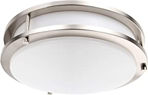 Lineway LED Flush Mount Ceiling Light Motion Sensor Round Ceiling Lamp for Hallway Stairway Garage Porch Kitchen Laundry Room (12 Inch, 18 W, 1200LM, 6000K)