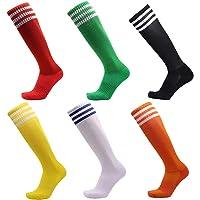65dab26a5 VWU Unisex Knee High 3 Stripes Athletic Soccer Football Tube Socks for  Children Man Women