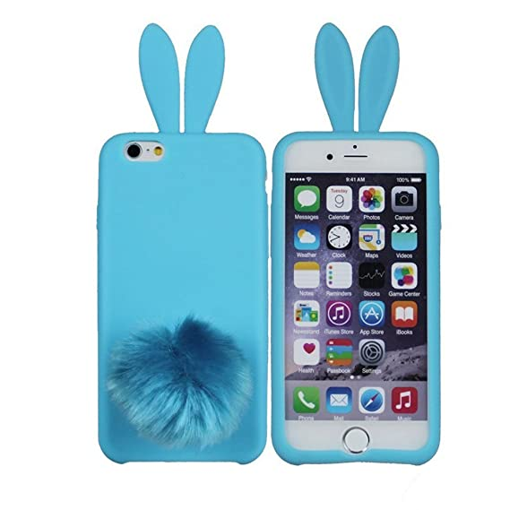 wholesale dealer ffa08 abc94 Hecheng iPhone 6 Bunny Ear Case Cute Lovely Bunny Rabbit Silicone Soft Case  Cover Skin for Apple iPhone 6/6P with Furry Tail (Blue, IPhone6)