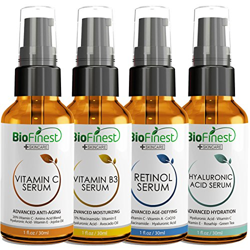 Amazon.com: [4-PACK] Biofinest Vitamin C Serum, Vitamin B Serum, Retinol Serum, Hyaluronic Acid Serum: with Niacinamide - Anti Wrinkle Anti Aging Facial ...