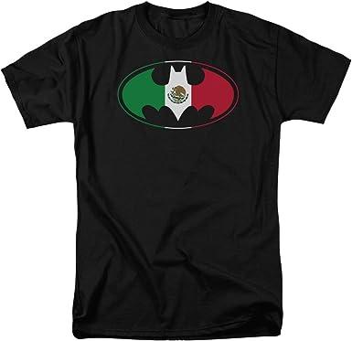 Playera con logo de la bandera mexicana de Batman - Negro - Large: Amazon.es: Ropa y accesorios