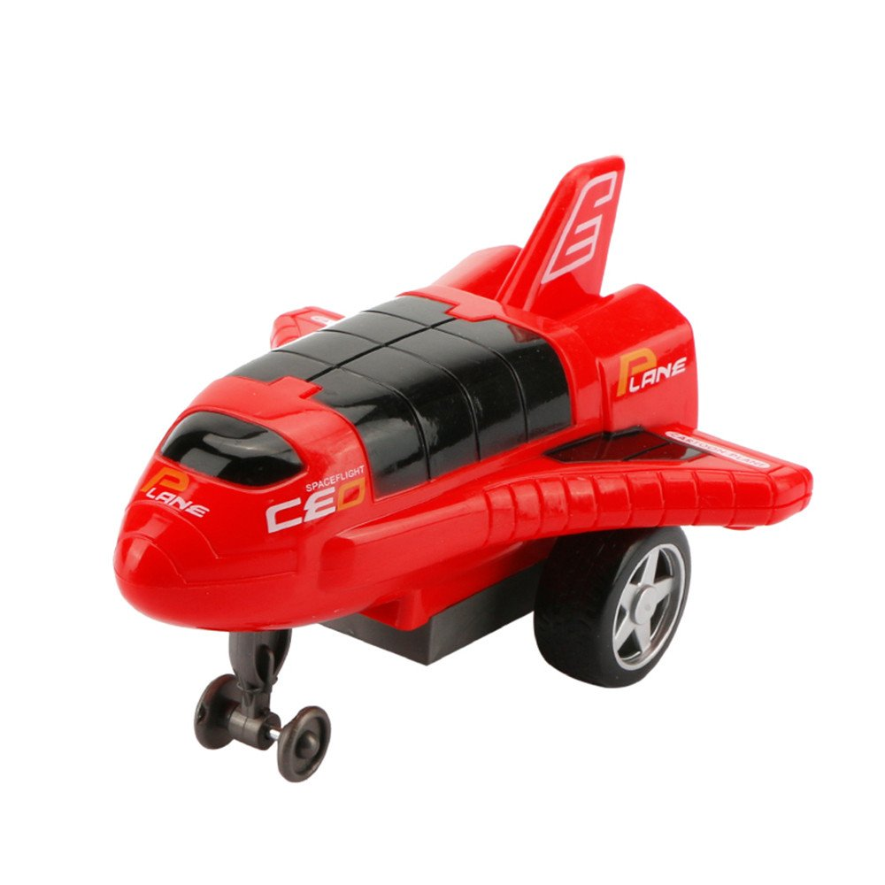 Inkach Pull Back Off-Road Car Airplane Shaped Friction Powered Buggy Car Inertia Vehicles Model Educational Toys (Red)