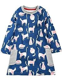 Toddler Girls Long Sleeve Dress Tunics Cotton Cartoon Casual Striped T Shirt Dresses
