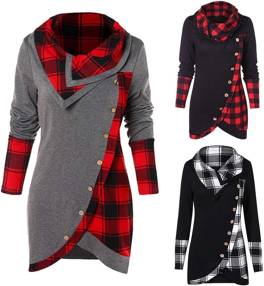 RUIVE Women/'s Plaid Print Blouse Turtleneck//Hooded Button Asymmetric Tops Casual Long Tartan Tunic Sweatshirt