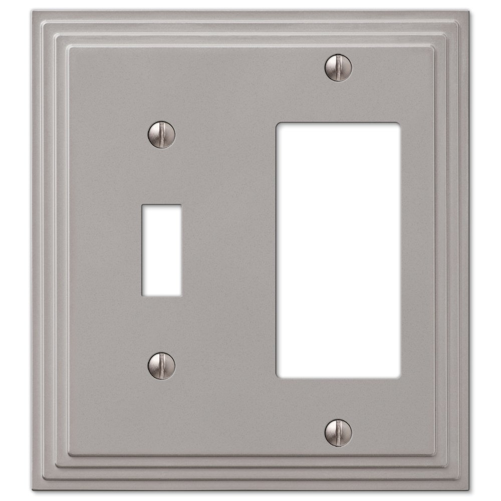 Combination toggle switch decora gfi rocker cover wall plate satin combination toggle switch decora gfi rocker cover wall plate satin nickel finish switch and outlet plates amazon publicscrutiny Images