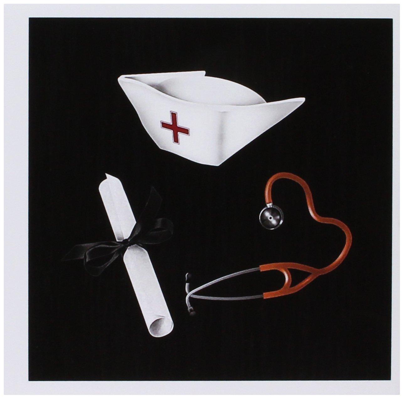 3dRose felicitación gc_184096_2 - Tarjeta de felicitación 3dRose (15,2 x 15,2 cm, 12 unidades), diseño de gorro de enfermera, diploma, estetoscopio, rojo y negro e01eaa