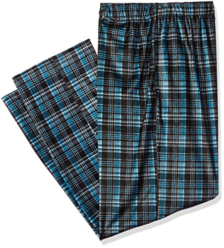Jockey Men's Matte Silky Fleece Pajama Pant, Black/Blue Plaid, Large (Big Mens Fleece Pajama Pants)
