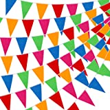 YGEOMER 300pcs Colorful Pennant Flags Banner 375ft Multicolor Pennant Banner Nylon Cloth Flag Pennants for Party Celebrations