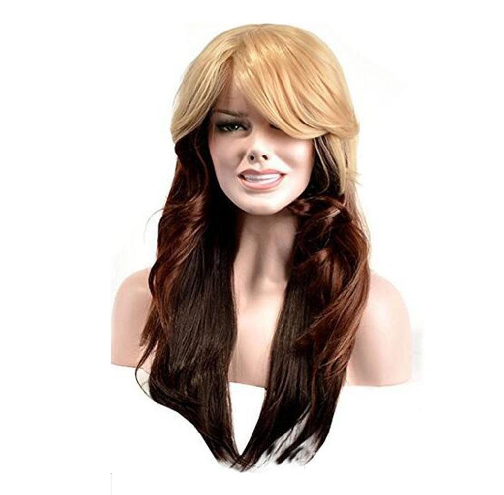 ANLKYIQI Wigs Europe And The United States Fashion Brown Gradient In The Long Volume Of High Temperature Wire Wig