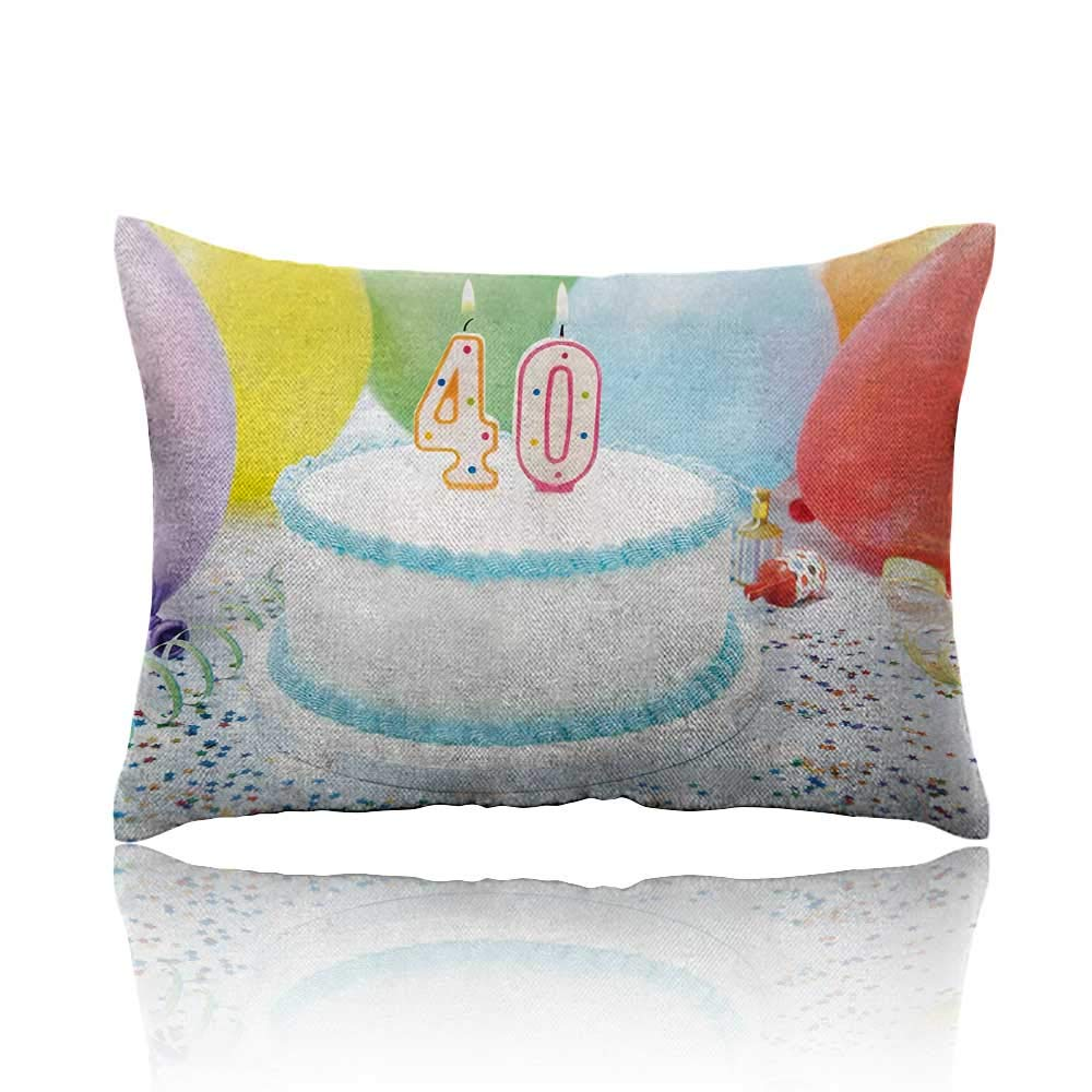 Anyangeight 40th Birthday Cars Pillowcase Special Day Surprise Occasion Party Event with Colorful Balloons and Ribbons Youth Pillowcase 20\'x26\'Multicolor