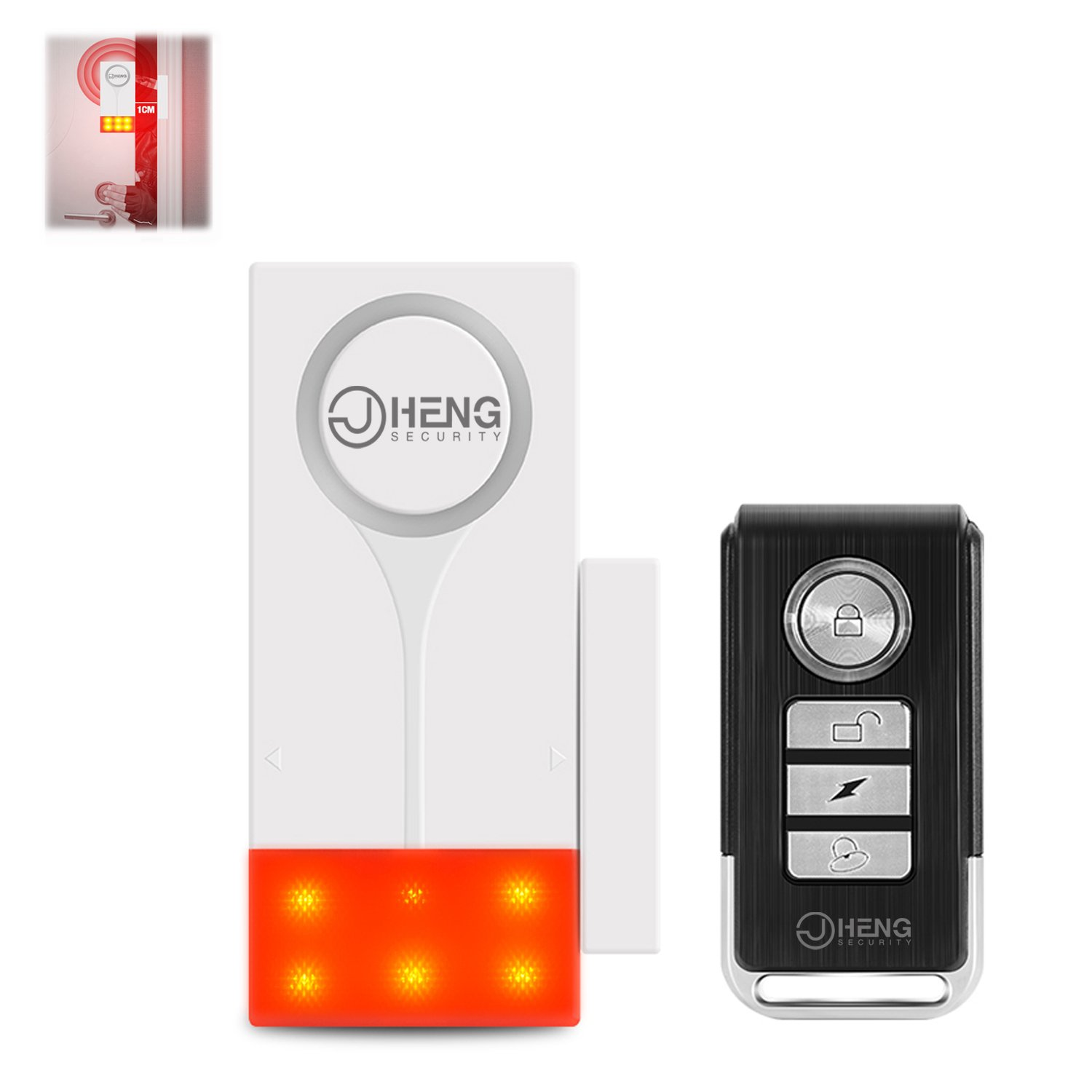 JC Standalone Wireless Remote Control Vibration Alarm Sensor Door Window Home Business Security Sensor Detector Security Alarm with quick flash strobe 105dB Easy Use