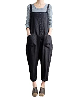 4abc9be670530 VONDA Women's Strappy Jumpsuits Baggy Overalls Casual Cotton Dungarees