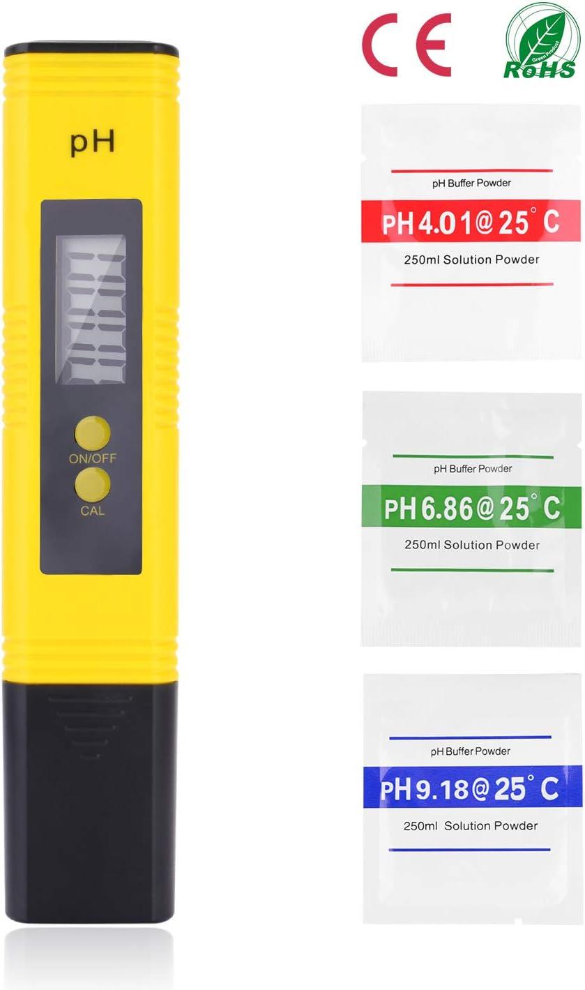 Medidor Ph Agua Preciso, Calidad del Agua Medidor de Prueba con Rango de Medición de pH de 0-14, Para Acuario, Piscina de Agua Hidropónica, Laboratorio