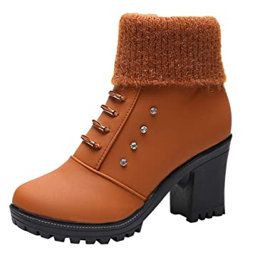 46dfd8bd2aee7 Amazon.com: Dacawin Vintage Women's Ankle Bootie Square High Heel ...