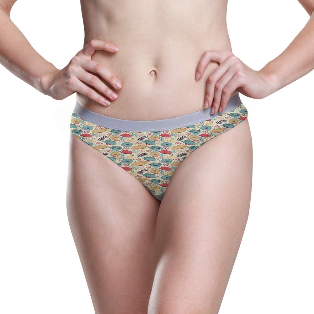 Womens Hipster Panties,Blooming Tree of Life with Believe in Miracles Message and Flowers Print,5 Size