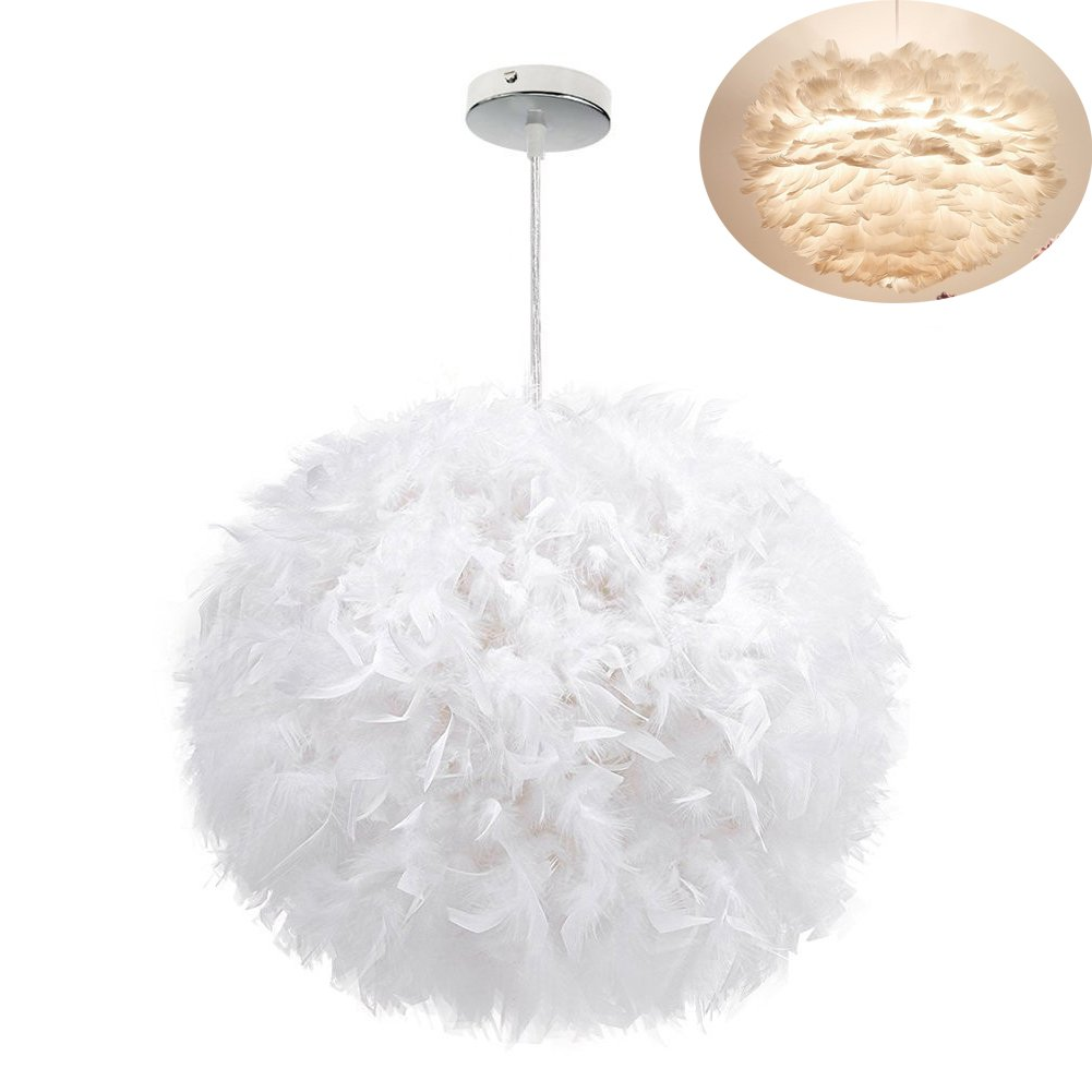 White Feather Ceiling Pendant Light Shade, Large Size 16 Inch Simple Luxury White Feather Ball E27 Lampshade Floor Lamp Decorative Droplight Shade for Living Room Bedroom