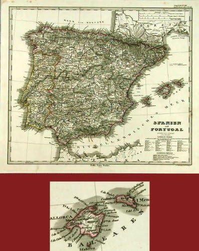 De mapamundi antiguo ThePrintsCollector - de la bandera de España - Stieler-1868: Amazon.es: Hogar