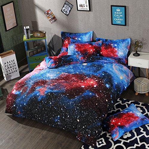 """RheaChoice Red Blue Galaxy Duvet Cover Set Full/Queen Size - Includes 1 Duvet Cover 90""""x90"""" 2 Pillowcase 20""""x26"""" Microfiber"""