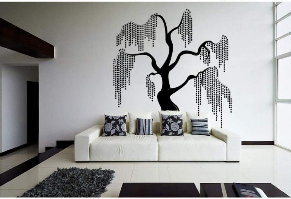 Amazon Com Wwttoo Unique Beautiful Willow Tree Design Fantasy In Nature Wall Stickers For Bedrooms Vinyl Murals Decals Living Room Decor 42x45cm Kitchen Dining