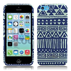 Soft and Flexible Blue and Mint Tribal Print Design Pattern TPU Silicon Case for iPhone 5C in Unique Fun Cool Trendy Retro Indi Vintage Design by ThePhoneCovers