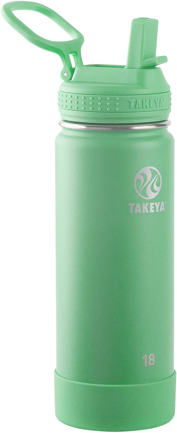 Takeya Actives Insulated Water Bottle w/Straw Lid, Mint, 18 Ounces