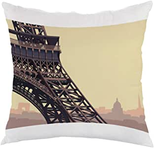 Painting - Paris Printed Pillow, white velvet Fabric 40X40 cm