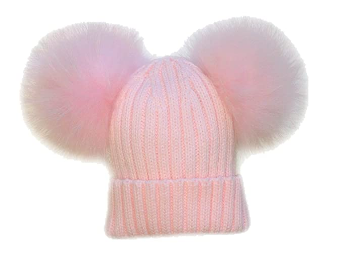 BrillaBenny Cappello PON PON Doppio Staccabile Vera Pelliccia Rosa Pink 1-4  Anni Bimba Cappellino Cuffia Hat Fur Baby Kids Double Poms Luxury   Amazon.it  ... 135fd6e2b44c