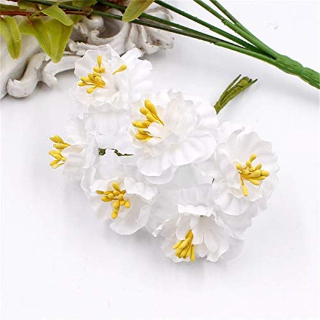 PPL21 6個 4 cm カーネーション シルク ガーゼ ステミン 造花ブーケ 結婚式 装飾 DIY スクラップブック フラワー フェイク。 B07H71TNWS 10