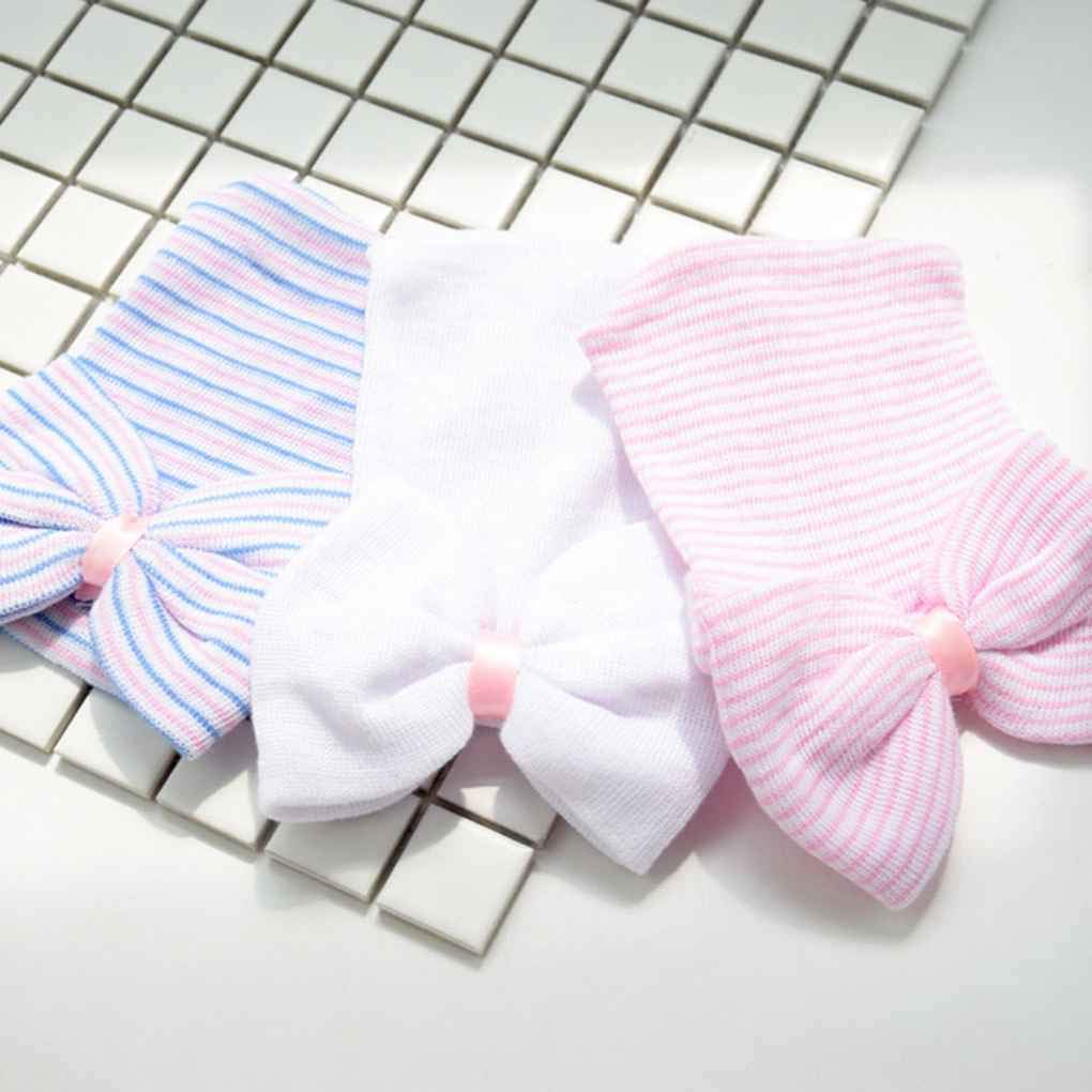 0-6 Months Newborn Baby Hats Cotton Beanie Bow Soft Knit Tire Striped Infant Caps Toddlers Bebe Photography Hats