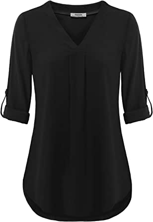Youtalia Womens 3/4 Cuffed Sleeve Chiffon Printed V Neck Casual Blouse Shirt Tops