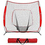 SONGMICS 7' x 7' Baseball Net, Portable Softball Net, Practice Net with Carry Bag, Ground Stakes, for Hitting and Batting Practice, Red, USBN77RD